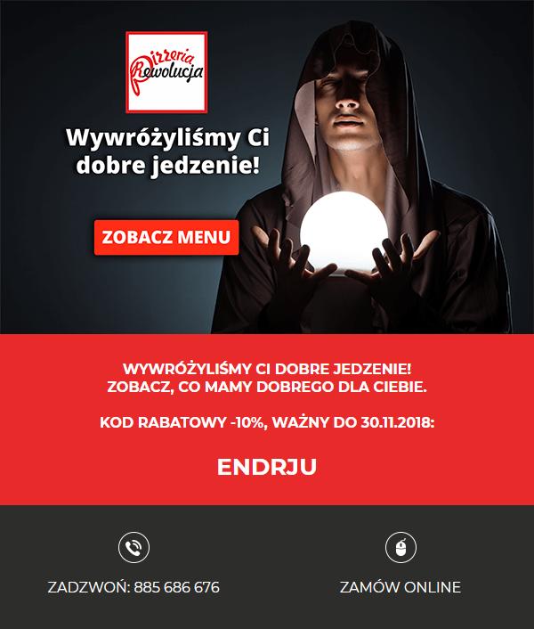 przykładowa kreacja mailingowa dla pizzerii rewolucja
