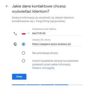 dane kontaktowe do restauracji w wizytowce
