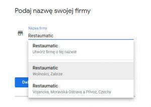 szukanie istniejącej firmy w google maps