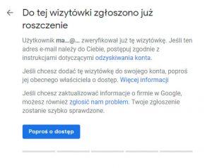 prośba o dostęp do wizytowki w google