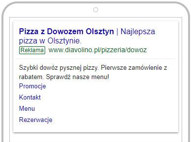 Przykład reklamy linków sponsorowanych dla Diavolino